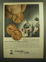 1965 Lincoln National Life Ad - Penny Through Fingers