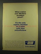 1965 Modess Blue Polyethylene Shield Ad, Accident-Proof