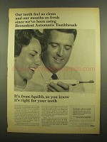 1965 Squibb Broxodent Automatic Toothbrush Ad - Clean
