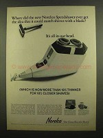 1965 Norelco Speedshaver Ad - Match Shaves with Blade