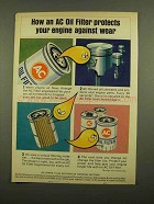 1965 AC Oil Filter Ad - Protects Engine Against Wear