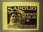 1898 Sapolio Soap Ad - Doubles the Joy in House-work