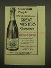 1899 Great Western Extra Dry Champagne Ad - American