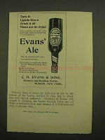 1899 Evans' Ale Ad - Turn it Upside Down Drink It All