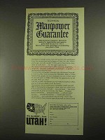 1967 Utah Industrial Promotion Commission Ad - Manpower