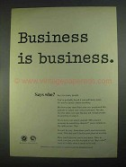 1967 Religion in American Life Ad, Business Is Business