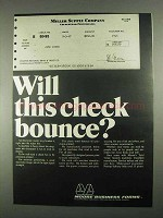 1967 Moore Business Forms Ad - Will Check Bounce?