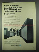 1967 Burroughs B2500 / B3500 Computers Ad - On Time