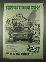 1967 National Car Rental Ad - Support Your Wife