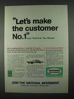 1967 National Car Rental Ad - Make The Customer No.1