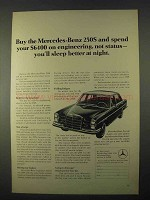 1967 Mercedes-Benz 250S Car Ad - Spend on Engineering