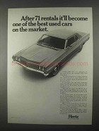 1967 Hertz Rent-A-Car Ad - After 71 Rentals Used Car