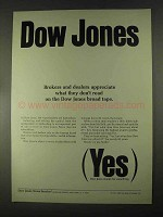 1967 Dow Jones Ad - Brokers and Dealers Appreciate