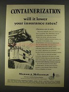 1967 Marsh & McLennan Insurance Ad - Containerization