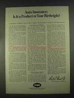 1967 INA Auto Insurance Ad - Product or Birthright?