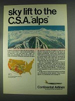 1967 Continental Airlines Ad - Sky Lift to C.S.A. Alps
