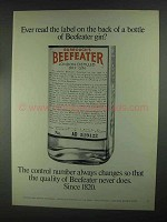 1967 Beefeater Gin Ad - Ever Read The Label on Back