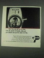 1967 Bauer C-2 Super 8 Movie Camera Ad - Icy Stare