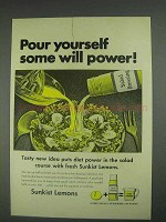 1967 Sunkist Lemons Ad - Pour Yourself Will Power