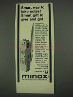 1967 Minox Camera Ad - Smart Way to Take Notes