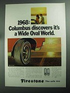1968 Firestone Wide Oval Tires Ad - Columbus Discovers