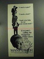 1968 Manpower Temporary Help Ad - I Need a Typist