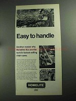1968 Homelite XL-103 Chain Saw Ad - Easy to Handle