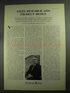 1968 Youngstown Steel Ad - Research Aids Product Design