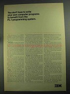 1968 IBM PL/I Programming System Ad - Benefit From