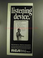 1968 RCA Stereo 8 Cartridge Tapes Ad - Listening Device