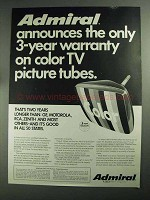 1968 Admiral TV Ad - Color TV Picture Tubes