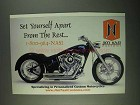 2001 Jim Nasi Custom Motorcycles Ad - Set Apart