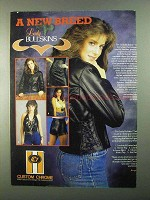 1986 Custom Chrome Lady Bullksins Leather Apparel Ad