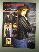 1985 Custom Chrome Lady Bullksins Leather Apparel Ad