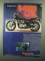 1977 Kawasaki KZ1000 LTD Motorcycle Ad - Z and Be Seen