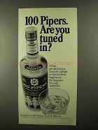 1968 Seagram's 100 Pipers Scotch Ad - Tuned In?