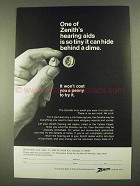 1968 Zenith Zenette Hearing Aid Ad - Hide Behind Dime