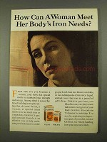 1968 Geritol Medicine Ad - Meet Her Body's Iron Needs