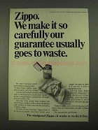 1968 Zippo Cigarette Lighters Ad - Guarantee to Waste