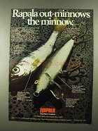 1974 Rapala Lures Ad - Out-Minnows the Minnow