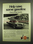 1974 AC Fire-Ring Spark Plugs Ad - Save Gasoline