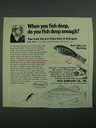 1973 Fred Arbogast Mud-Bug Lure Ad - Fish Deep