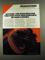 1987 Bridgestone Spitfire SE22 Tires Ad - Performance