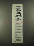 1988 Peace Corps Ad - Good Back, Strong Stomach