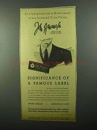 1943 John Wanamaker Men's Clothing Ad - Direct Result