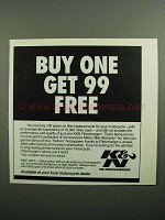 1990 K&N Filtercharger Ad - Buy One Get 99 Free