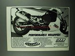 1989 SuperTrapp Exhaust Ad - Kawasaki 750R Motorcycle