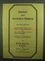 1943 Chemical Bank Ad - Simplify Your Investment