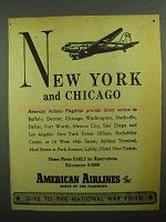 1943 American Airlines Ad - New York and Chicago
