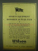 1943 Wilson Sports Equipment Ad - As War Item
